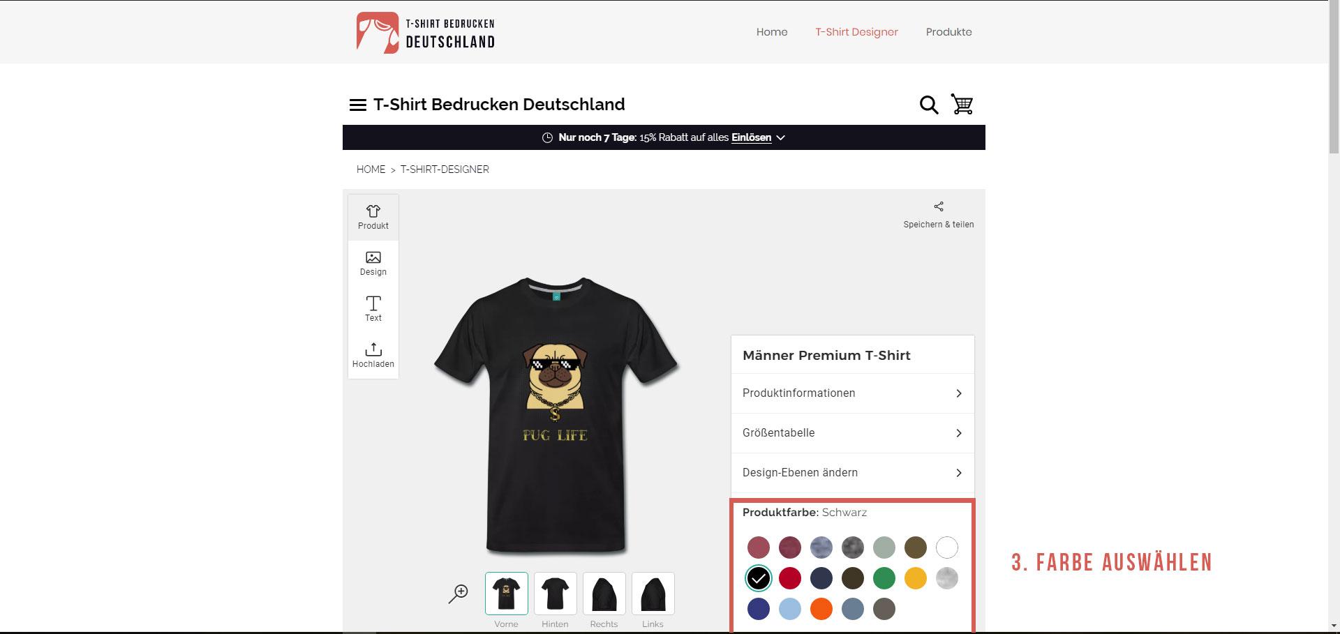 Anleitung - T-Shirt Druck in Deutschland - Farbe auswählen