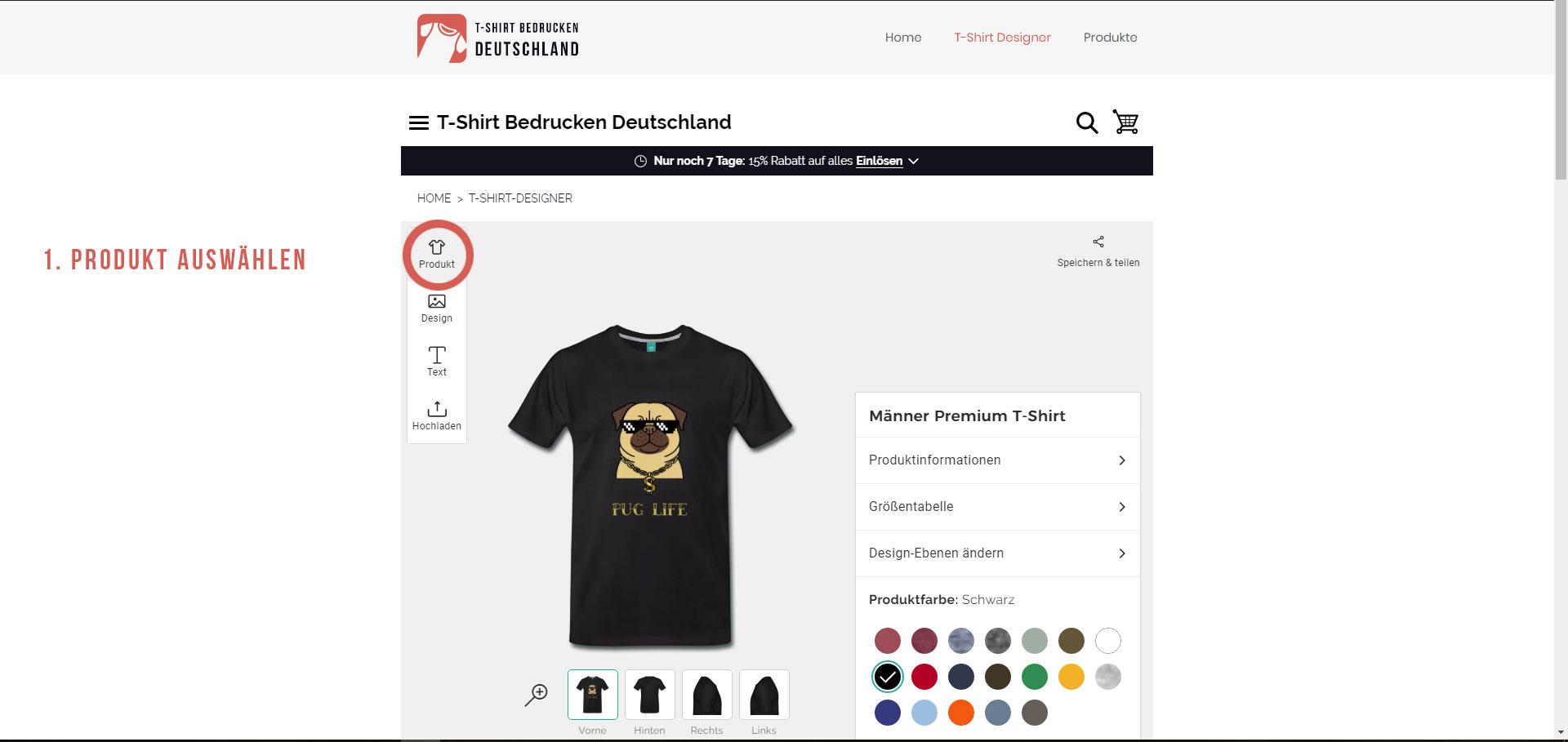 T-Shirt bedrucken - Produkte auswählen