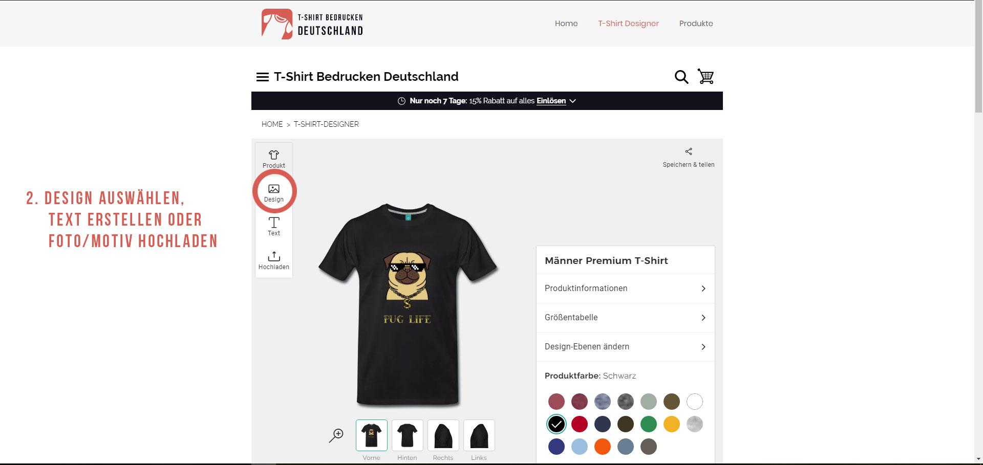 Anleitung T-Shirt bedrucken - Design, Text oder Foto hochladen und auf dem T-Shirt Anpassen